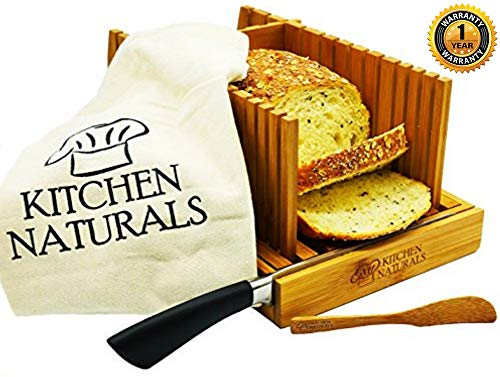 (Premium Bamboo Foldable Bread Slicer – Built in Crumb Catcher and Knife Rest |Bread Slicing Guide, Bread Loaf Slicer– Bonus Bamboo Butter Spreader, Storage Bag and Guide Book. )