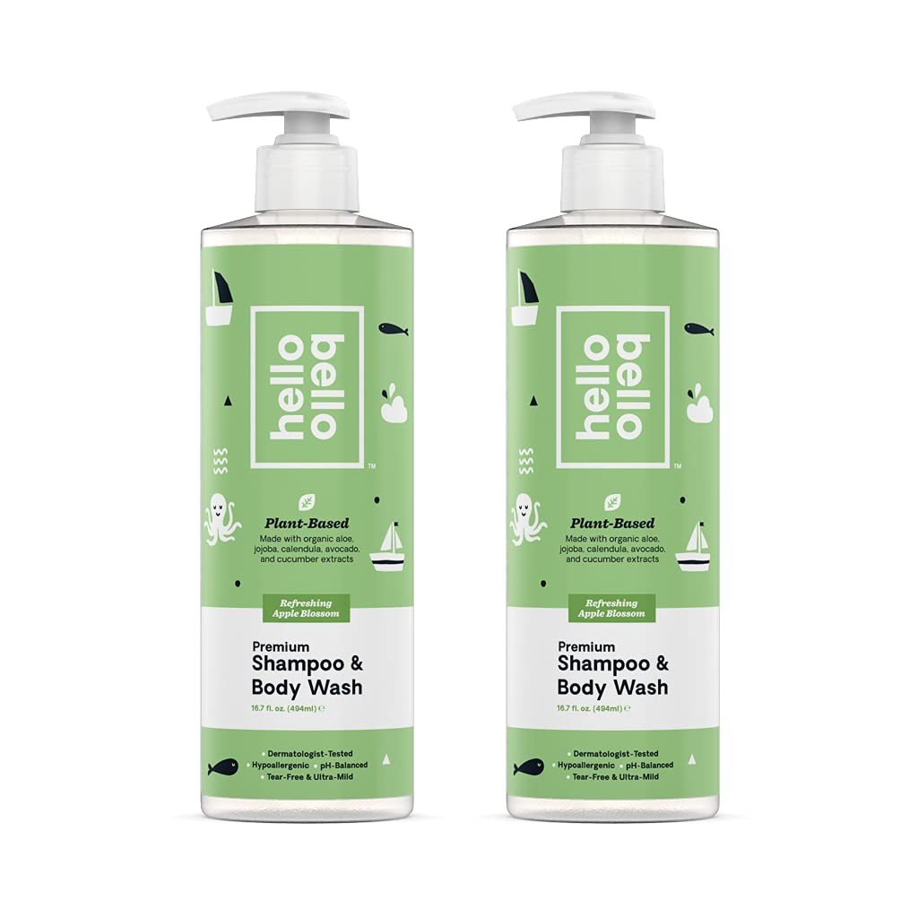 Hello Bello Baby Shampoo & Body Wash - Tear-Free, Hypoallergenic, Dermatologist & Pediatrician Tested - Thoughtful Ingredients - Apple Blossom, 16.7 Fl Oz (Pack of 2)
