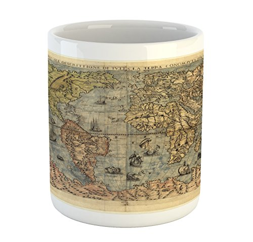 Lunarable Antique Mug, Ancient Map of World Global History Stained Paper Oceans Lands Vintage Atlas, Printed Ceramic Coffee Mug Water Tea Drinks Cup, Cream Green Rose
