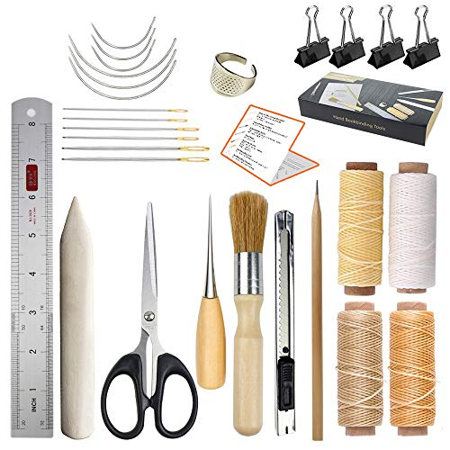 JOFAMY Bookbinding Kits, 17 pcs Bookbinding Supplies,A Necessity Book Binding Starter Kit Real Bone Folder,Paper Awl, Large-Eye Needles,Glue Brushes, Scissors, Steel Ruler Wax Thread