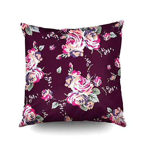 ROOLAYS Throw Square Pillowcase Covers 20X20Inch,Cotton Shabby Chic Vintage Roses Pattern Classic Chintz Floral Repeat Background Web Print Both Sides Print Zipper Home Decor Cushion