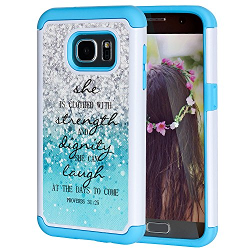 Galaxy S7 Case,SKYFREE [Shock Absorption] Christian Bible Verse Quotes Proverbs 31:25 Hybrid Dual Layer Armor Defender Protective Case Cover for Samsung Galaxy S7
