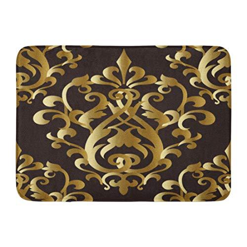 Rectangle Antique Rug Gold (Emvency Doormats Bath Rugs Outdoor/Indoor Door Mat Baroquegold Gold Floral Damask Baroque Vintage Antique 3D Flowers Leaves and Flourish Ornaments Bathroom Decor Rug 16