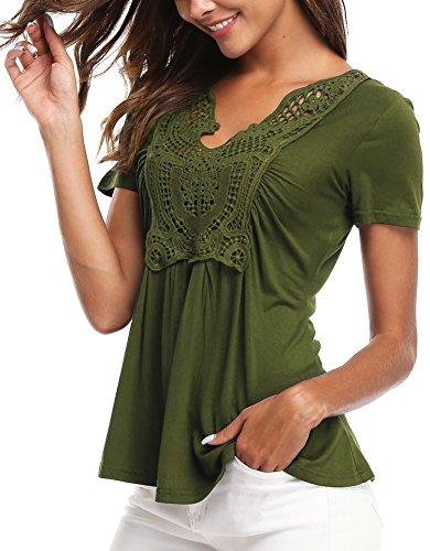 MISS MOLY Women's Summer Ruched Front Short Sleeve Lace Casual V Neck Cute Slim Peplum Plus Size Tops Shirt Tees Army Green S
