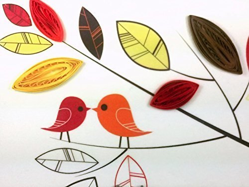 Love Birds Canvas Wall Art Print with Paper Quilling Leaves, Handmade Anniversary Gift
