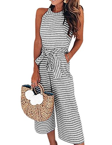 AoMoon Womens Sleeveless Striped Waist Belted Zipper Back Wide Leg Capri Pants Jumpsuit (Gray, XL)
