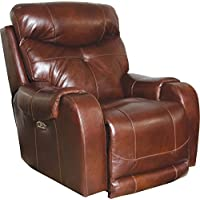 Catnapper Venice Leather Touch Power Lumbar Lay Flat Recliner in Walnut