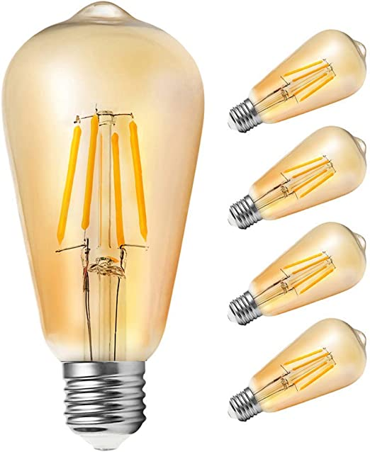 Edison Vintage Gl/ühbirne Samione Warmwei/ß E27 LED Lampe Retro Gl/ühbirne Antike Beleuchtung Ideal f/ür Retro Beleuchtung im Haus Caf/é Bar Restaurant usw 1 St/ück Energieklasse Energieklasse A++