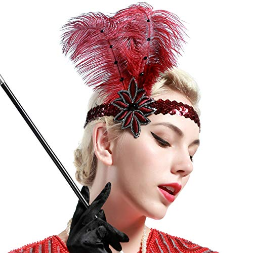 BABEYOND 1920s Flapper Headband Roaring 20s Sequined Showgirl Headpiece Great Gatsby Headband with Red Feather