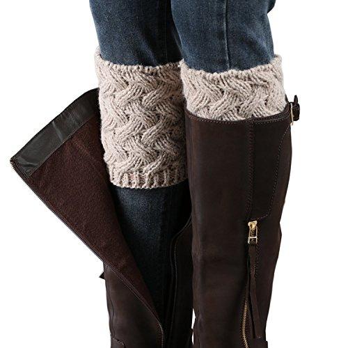 Bestjybt Womens Short Boots Socks Crochet Knitted Boot Cuffs Leg Warmers Socks, Beige