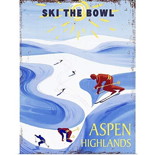 GREATBIGCANVAS Poster Print Entitled Aspen Highlands Vintage Advertising Poster by 12