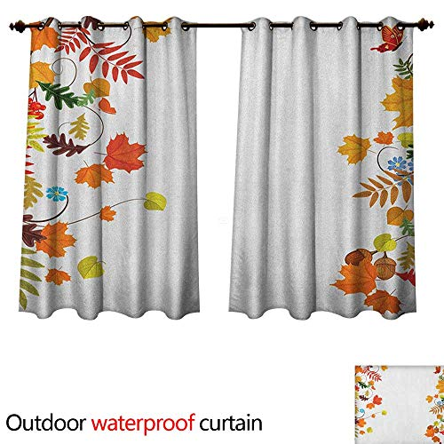 - Anshesix Harvest 0utdoor Curtains for Patio Waterproof Colorful Seasonal Maple Aspen Leaves Frame Fall Foliage Environment Nuts Butterfly W72 x L72(183cm x 183cm)