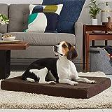 BarkBox Thick Orthopedic Gel Memory Foam Enhanced Dog Bed – Removable Washable Cover – Medium – Espresso/Brown – Free Surprise Inside