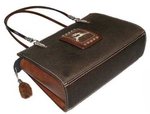 Trachtentasche Tasche Handtasche Federkiel-Optik Jagd Hirsch Ledertasche braun