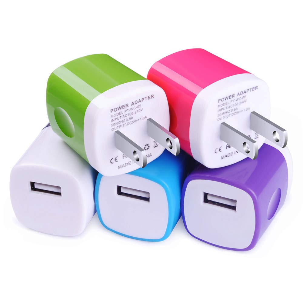 USB Charger, Charging Block CIQILY 5-Pack 1A/5V USB Power Home Travel Adapter Wall Charger Cube Brick Box Base Head Compatible for Phone X 8 7 6 Plus 5S, iPad, Samsung, LG, Moto,Tablet, Android Phone