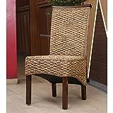 wicker dining room chairs International Caravan SG-3310-2CH-IC Furniture Piece Bunga Hyacinth Dining Chair (Set of 2)