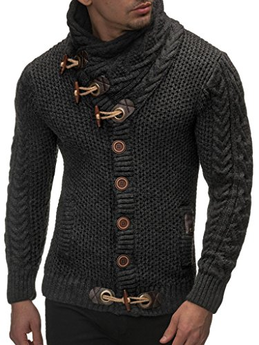 Leif Nelson  Men's Knitted Turtleneck Cardigan - Large - Anthracite by Leif Nelson