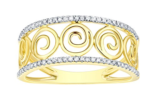 Prism Jewel 1.15Ct Natural G-H/I1 Round Diamond Designer Vine Band, 18k Yellow Gold Size 7.5