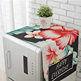 Wall of Dragon Dual-Purpose Printed Plant Linen Single Door Refrigerator Dust Cover with Storage Bag Home Kitchen Tool Protector 13058cm