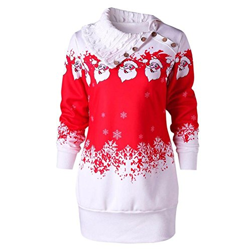 Sweetheart Jumper (Women Christmas Dress, Forhery Ugly Cowl Neck Xmas Santa Claus Tunic Sweatshirt Jumper Dress (Red, Tag M= US S))