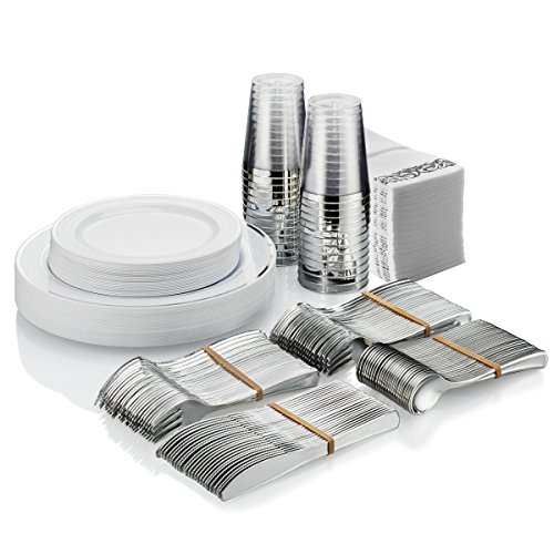 25 Guest Disposable Silver Dinnerware Set | Heavy Duty Plastic Plates, Cups, Silverware & Napkins. 50 Forks, 25 Spoons, 25 Knives, 25 Dinner Plates, 25 Dessert Plates & 25 Cups | Bonus 50 Guest Towels ()