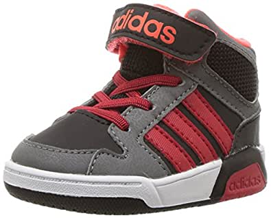 adidas Boys' BB9TIS MID INF Sneaker, Black/Scarlet/Solar RED, 3 Medium US Toddler