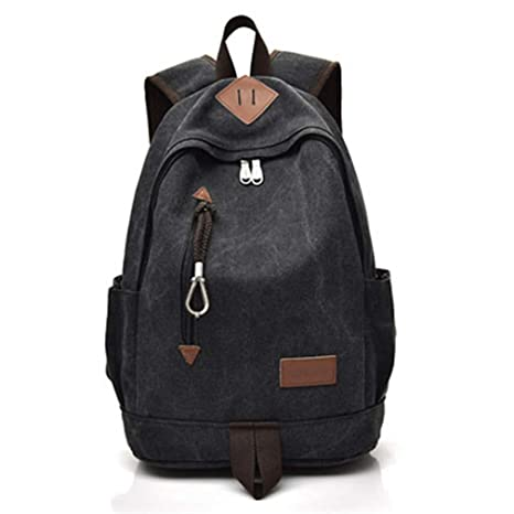 wenKKENGhai Men Canvas Backpack Women Vintage Travel Rucksack Teenager  School Bags Black Brown Large Laptop ffe5ea985c16e