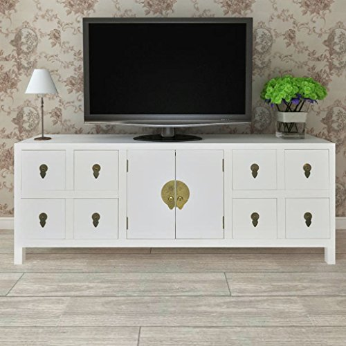 High Sideboard - Festnight High Gloss Buffet Sideboard with 8 Storage Drawers and 2 Doors Cabinet TV Stand White End Side Table for Living Room Home Office Furniture 48