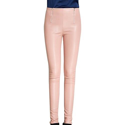 Zhhlinyuan Women mujeres Slimming Skinny High Waist PU Leather Pencil Pants Thin Stretch Legging