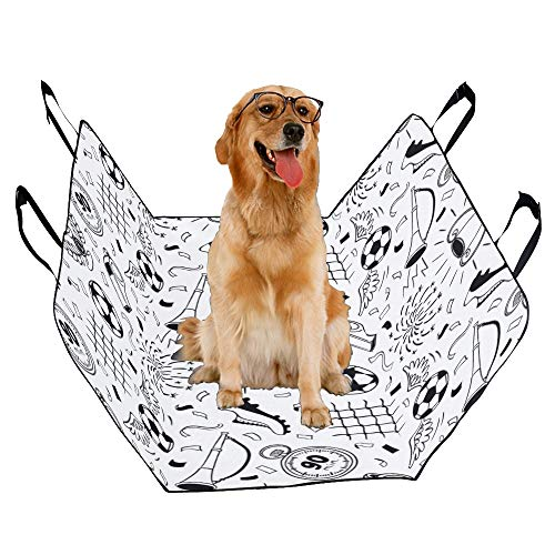 VNASKL Dog Seat Cover Custom Soccer Printing Car Seat Covers for Dogs 100% Waterproof Nonslip Durable Soft Pet Car Seat Dog Car Hammock for Cars Trucks SUV]()