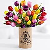 ProFlowers - 30 Multi-Colored Tulips (with FREE glass vase) - Flowers