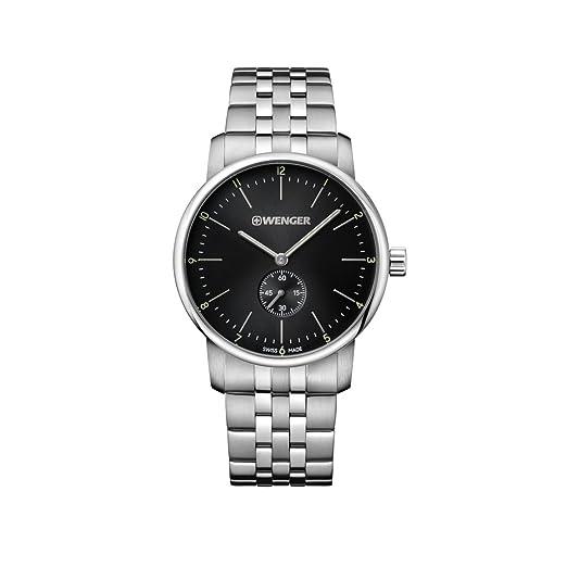 66ce50d5a50b WENGER Reloj Analogico para Unisex de Cuarzo con Correa en Acero Inoxidable  01.1741.105  Amazon.es  Relojes