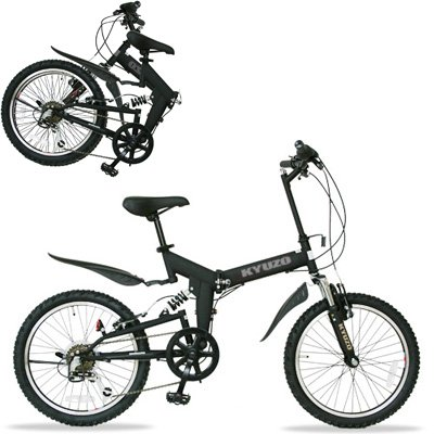KYUZO 20インチ 折りたたみ自転車 シマノ純正6段変速にZOOM製フロントサス、リアサスを搭載した自転車の九蔵別注MTB! KZ-100 (マットブラック) B001UMCL3Q
