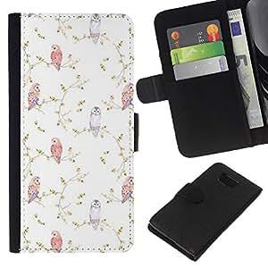 EJOY---La carpeta del tirón la caja de cuero de alta calidad de la PU Caso protector / Samsung ALPHA G850 / --Viñeta Birds Wallpaper Blanca