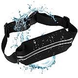 Running Pouch ZarkkA Running Bag Waist Belt Pack Adjustable Fanny Pouch Pocket Waist Pocket Outwork Waistband for Runner Trainer in Waterproof for iPhone-Black