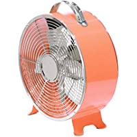 Stylish and Quiet Art Deco Retro Metal Desktop Fan with Two Speeds - by Cerebrum Shoppe (Coral/Salmon)