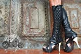 Knee High Lace Up Leather Boots