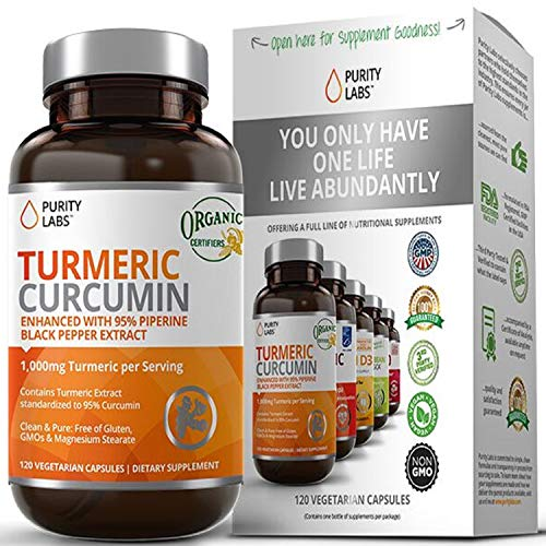 Purity Labs Organic Turmeric Curcumin Supplement – 1100mg 120 Capsules with Black Pepper Piperine and 95% Curcuminoids Highest Potency and Best Joint Pain Relief Formula NonGMO amp Gluten Free