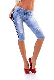 5442 Knackige Damen Capri Jeans Bermudas Shorts kurze Hose Caprijeans Slimfit