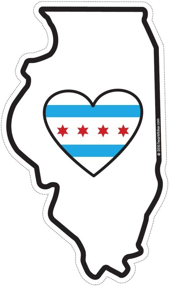 Chicago Sticker Heart in Chicago Illinois State Shaped Decal for Car Bumper Water Bottle Laptop Cooler Suitcase Mug Waterproof Die-Cut Vinyl