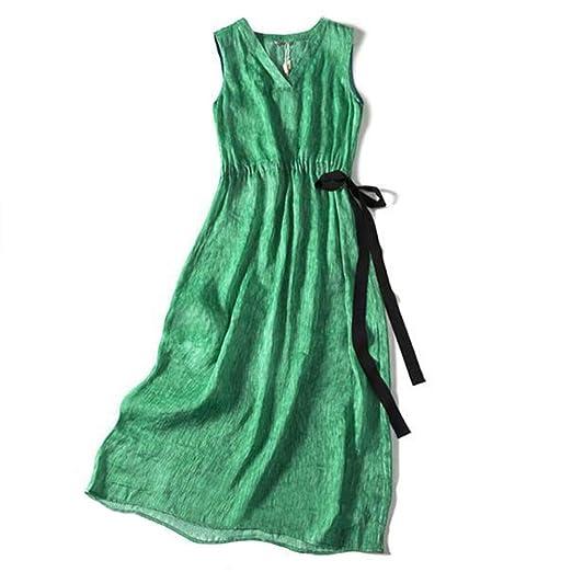 Gxianwengen Cáñamo de Seda Verde con Cuello en v Vestido Largo sin ...