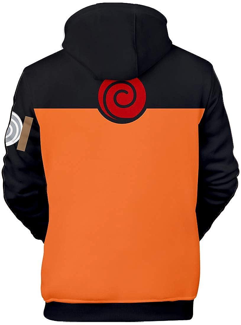 PANOZON Sudadera Hombre Naruto Impresión de Anime Japonés Chaqueta Deportiva con Capucha Naruto Uzumaki