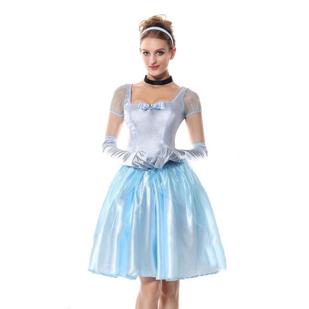 Yunfeng Hexenkostüm Damen Hexenkostüm Damen Einheitliche Halloween Märchen Blaue Prinzessin Kostüm Party Kostüme