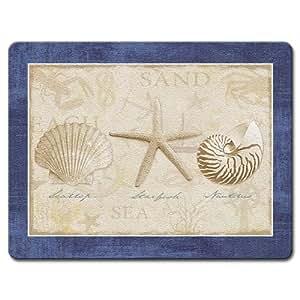 White Sand Blue Sea Glass Tempered Cutting Board