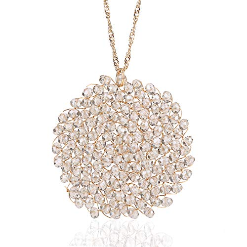 Niumike Crystal Disk Necklace with Circle Pendant for Women,Indus Hand-Made Long Necklaces, Box