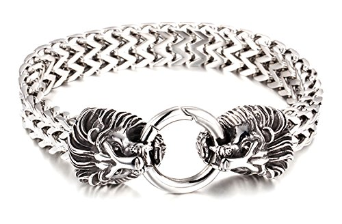 Xusamss Hip Hop White Titanium Steel Animal Lion Chain Bracelet,8.5