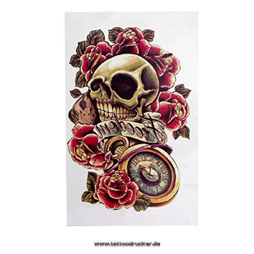 2 x Halloween Tattoo für Männer & Frauen Bunte Schädel mit Rosen und Freiheit Tattoo-Aufkleber - Skull, Roses, Freedom