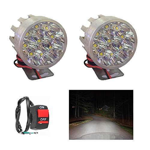 A2D® 9 LEDs Small Round Auxiliary Bike Led Fog Lamp Light Assembly White 6000K Set of 2 with Handle Switch For Bike Of…