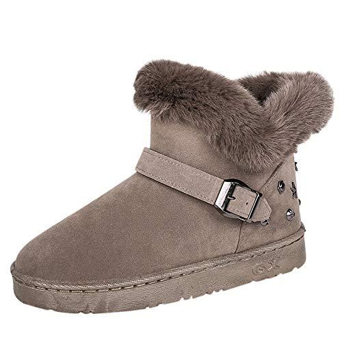(Caopixx Womens Snow Boots Winter Anti-Slip Ankle Bootie Outdoor Slippers Slip On Warm Fur Lined (C-Khaki, US:6))