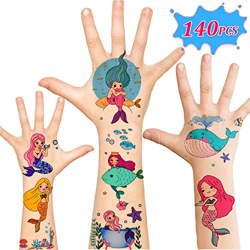 Mermaid Party Supplies, 140pcs Temporary Tattoos for Kids, Mermaid Party Favors Birthday Decor Games Tattoos for Boys Girls Women Men